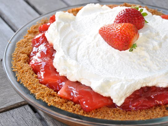 Strawberry Icebox Pie features fresh and cooked berries.
