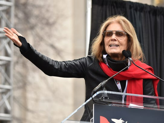 Gloria Steinem speaks during the Women's March on Washington.