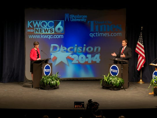 Republican state Sen. Joni Ernst debates Democratic