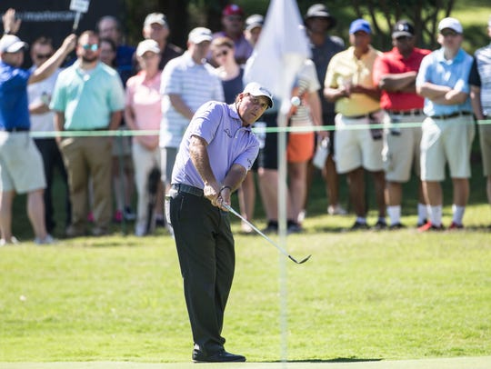 June 9, 2017 - Phil Mickelson hits a shot towards the