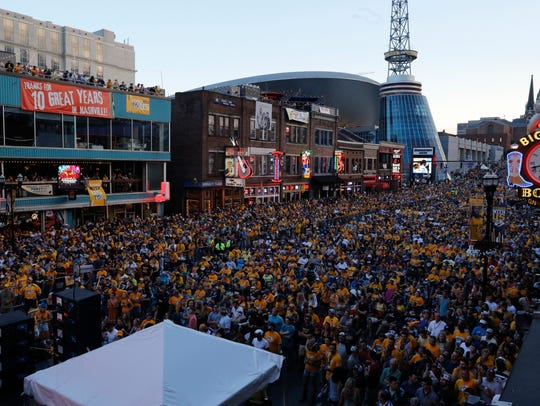Predators fans packed Broadway throughout the Stanley
