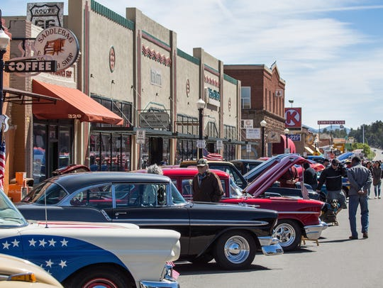 Classic cars line Route 66 in downtown Williams for