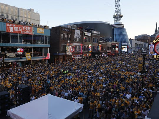 Predators fans packed Broadway as the team advanced