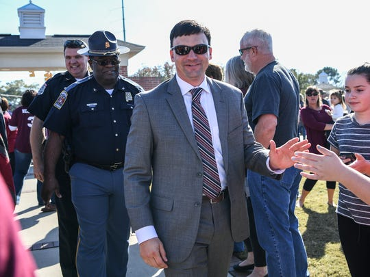 Troy Trojans head coach Neal Brown during Trojan Walk