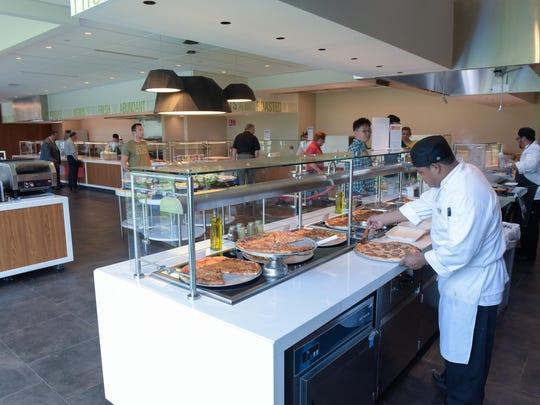 A cafeteria at Commvault's new headquarters in Tinton Falls.