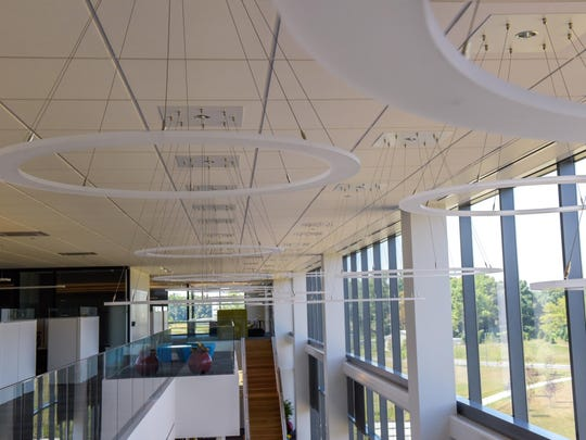 The flying saucer-looking objects are lights at Commvault's new headquarters in Tinton Falls.