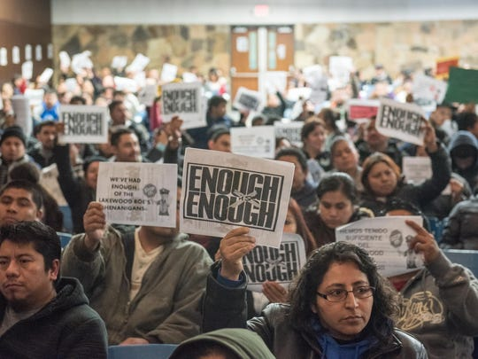 A large crowd showed up to express concerns about cutbacks in school courtesy busing issue at a Lakewood Board of Education meeting.