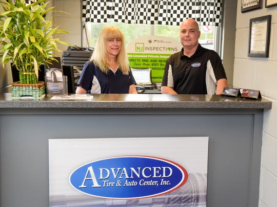 Janet (left) and Jason Bigelow own and operate Advanced Tire and Auto Center on Route 35 in Aberdeen.