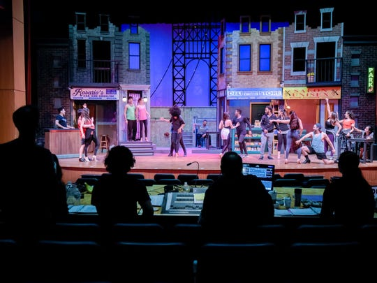 "The production team of ""In The Heights"" watches rehearsal at Axelrod Performing Arts Center in Deal on Tuesday."
