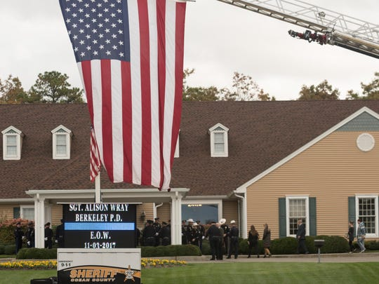 People arrive at the funeral home. Sgt. Alison Wray of the Berkeley Township Police Department died suddenly Nov. 3 after she suffered a stroke while on duty. The viewing was held at the Quinn Hopping Funeral Home in Toms River on Thursday, November 9, 2017. /Russ DeSantis for the Asbury Park Press / Slug:Sgt. Alison Wray Funeral