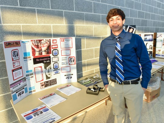 Monmouth Regional High School student Christian Boujaoude helped organize an event at the Tinton Falls school to raise awareness of human trafficking.
