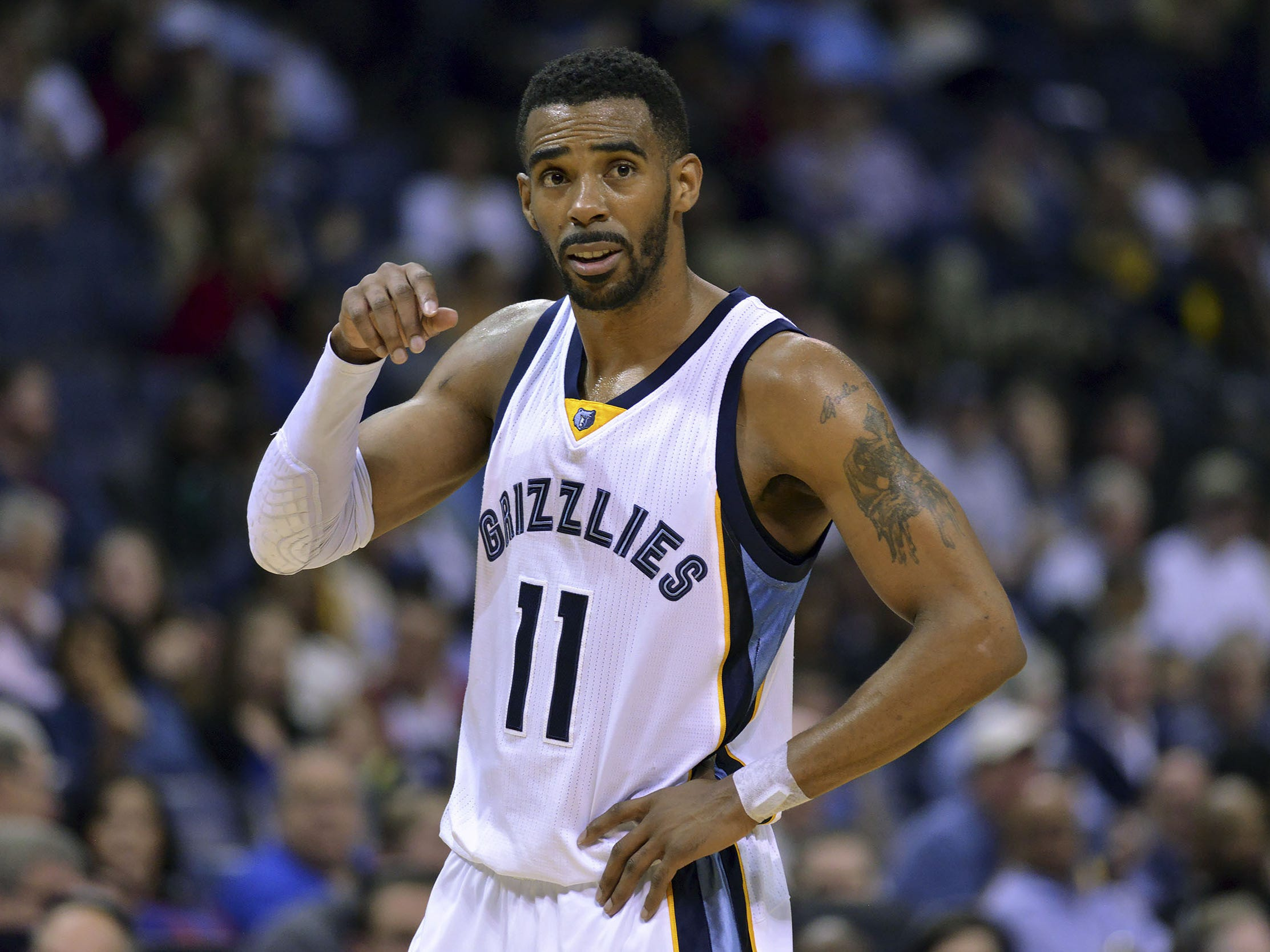 FILE - In this Monday, March 30, 2015 file photo, Memphis Grizzlies guard Mike Conley (11) plays in the first half of an NBA basketball game against the Sacramento Kings in Memphis, Tenn. Mike Conley should be resting right now, letting his sprained right foot heal. But he won?t, no time. It?s the playoffs. So the Grizzlies guard is playing even though sharp pain shoots through his foot when he runs or jumps, just not enough to keep him on the bench, Tuesday, April 21, 2015. (AP Photo/Brandon Dill, File)