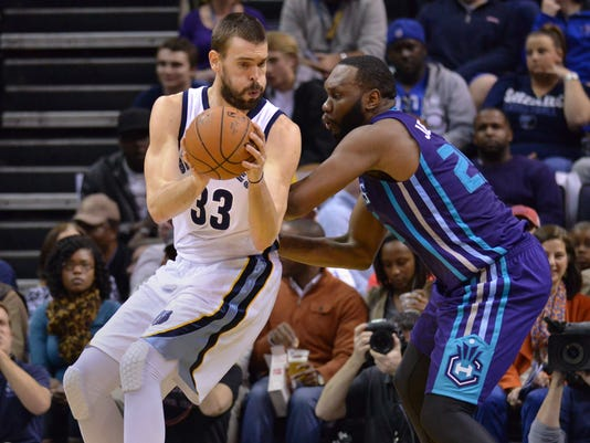 Memphis Grizzlies center Marc Gasol (33) works the ball against Charlotte Hornets center Al Jefferson (25) in the first half of an NBA basketball game Friday, Dec. 12, 2014, in Memphis, Tenn. (AP Photo/Brandon Dill)