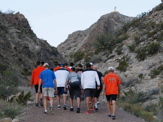 The UTEP men's basketball team hiked up Mount Cristo Rey on Friday morning.