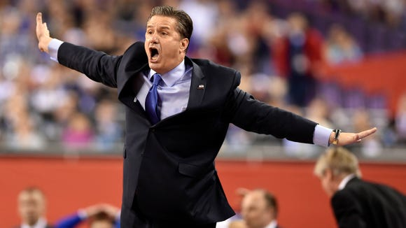 Kentucky Wildcats head coach John Calipari reacts during the national championship game against Wisconsin on April 4.