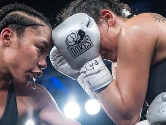 Fremont native Alycia Baumgardner looks for an uppercut