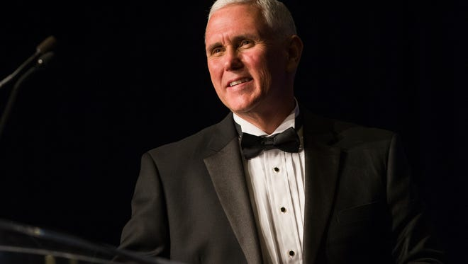 Vice President-elect Mike Pence speaks at the Indiana Inaugural Ball on Thursday, Jan. 19
