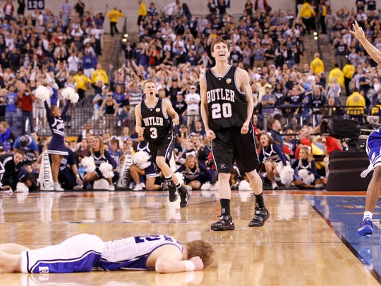 Hayward's reaction after his last-second heave bounced