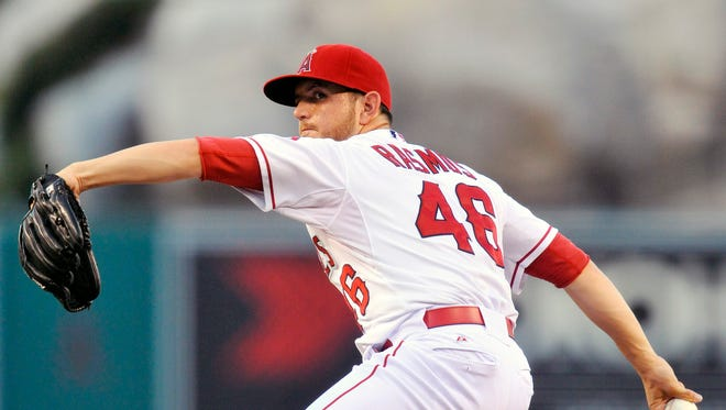 Cory Rasmus made his first major league start for the Angels in place of Garrett Richards.