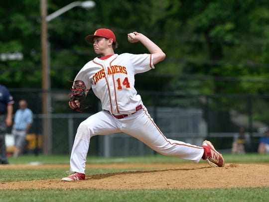 Bergen Catholic's Jacob Denner pitches in the game