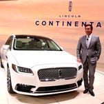 Mark Fields, the President and CEO of the Ford Motor Company, stands in front of the 2017 Lincoln Continental. Eric Seals/Detroit Free Press