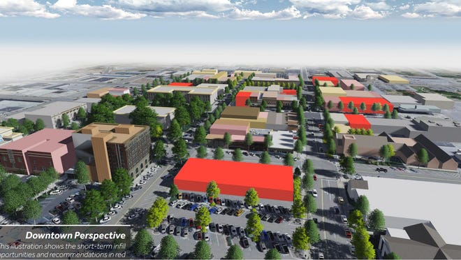 An illustration shows in red the recommended opportunities for development in downtown Jackson.