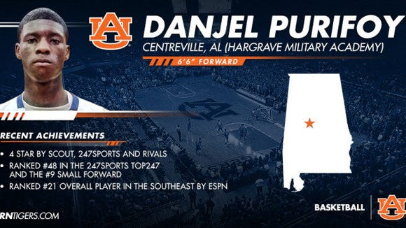 Danjel Purifoy's profile after he signed with Auburn.