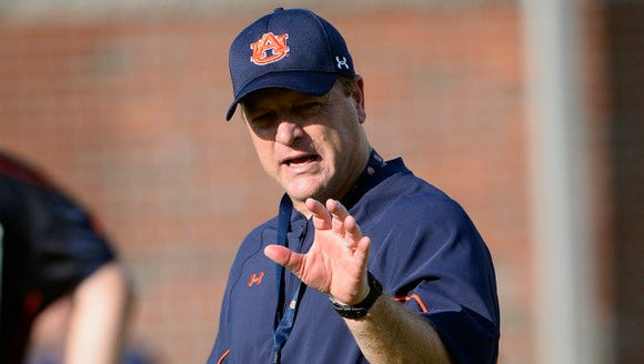 Auburn running backs coach Tim Horton on first day