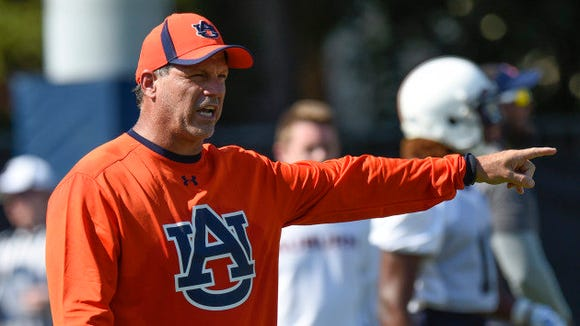 Lance Thompson during Auburn football fall camp on Tuesday, August 4, 2015 in Auburn, Ala. Thompson announced on Dec. 31 that he would be South Carolina's defensive line coach at South Carolina under new head coach Will Muschamp.
