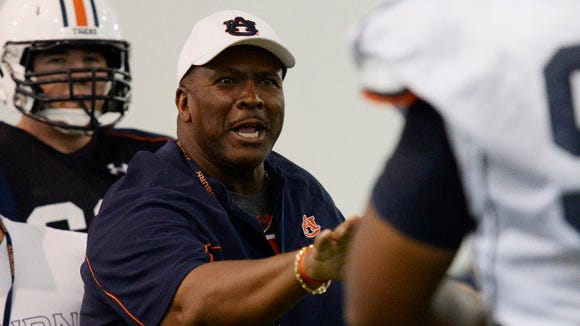 Auburn defensive line coach Rodney Garner during a