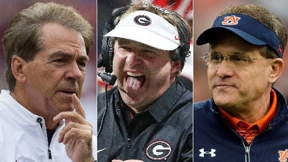 Nick Saban (Alabama), Kirby Smart (Georgia) and Gus Malzahn (Auburn) clearly had the best teams in the SEC last season and are heavy favorites to win the conference this season.
