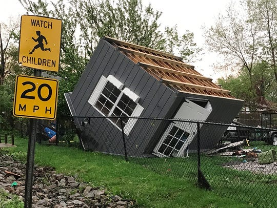 A shed was blown over by the high winds  on Lake Shore