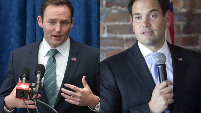 FILE- In this Oct. 14, 2015 file photo, Rep. Patrick Murphy, D-Fla. speaks during a pre-legislative news conference, in Tallahassee, Fla. Florida. (AP Photo/Steve Cannon, File)  FILE - Sen. Marco Rubio made an appearance in Leon County at The Edison restaurant in 2012. (Alvin McBean/Tallahassee Democrat)