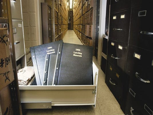 Investigative material from the 1906 lynchings is kept in a locked drawer at the Greene County Archive.