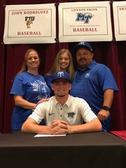Stoneman Douglas pitcher Connor Brian is joined by mother Jaime, sister Madison and father Dustin as he signs with MTSU baseball in November 2017.