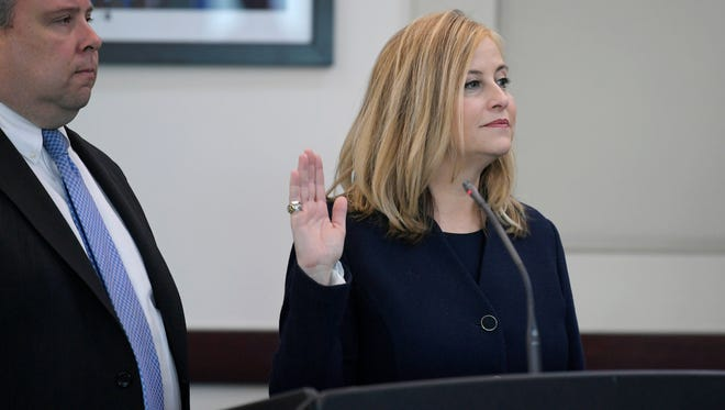 Nashville Mayor Megan Barry pleads guilty Tuesday, March 6, 2018 to felony theft of property over $10,000 related to her affair with former police bodyguard Sgt. Rob Forrest at the Justice A. A. Birch Building in Nashville, Tenn.