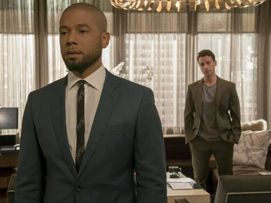 "This image released by Fox shows Jussie Smollett, left, and A.Z. Kelsey in a scene from the ""Pride"" episode of ""Empire"" which originally aired on Oct. 10, 2018. Smollett's co-starring role in ""Empire"" may end up being the pinnacle of his career, industry observers and insiders said as the actor faces criminal charges that he faked a hate crime against himself."