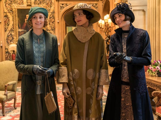 "Laura Carmichael as Lady Hexham, Elizabeth McGovern as Lady Grantham and Michelle Dockery as Lady Mary Talbot in ""Downton Abbey."""