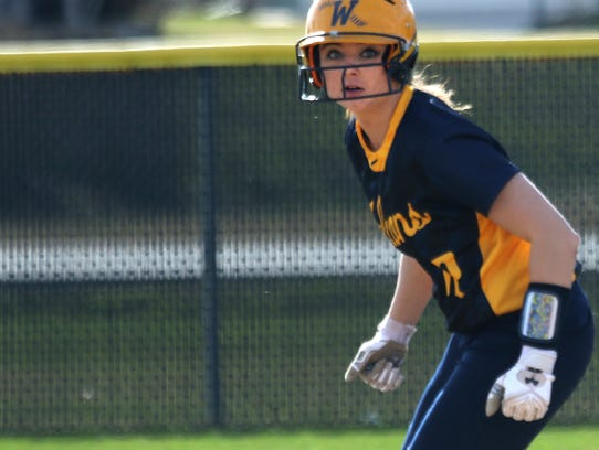 Whitnall's Sierra Grubor rounds second base during