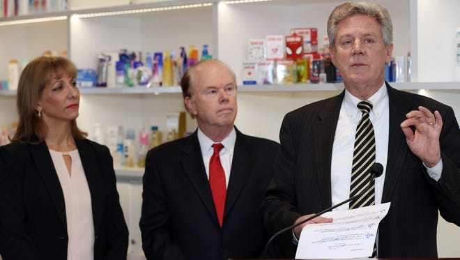 U.S. Rep. Frank Pallone Jr., D-N.J., 6th District, speaks about the Microbead-Free Waters Act of 2015, Tuesday, Jan. 5, 2016, during a press conference at Johnson & Johnson in New Brunswick. At left is Cathy Salerno, a scientist with Johnson & Johnson's personal care products business, and Assemblyman Patrick J. Diegnan Jr.