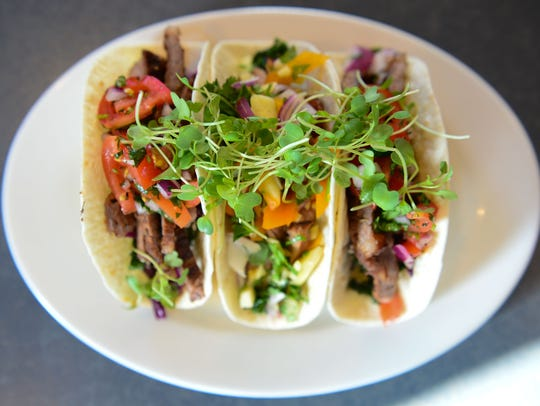 Tacos with fresh microgreens that have been grown locally