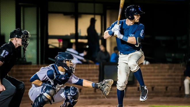 Taylor Ward, a graduate of Shadow Hills High, bats for the Mobile Bay Bears, the Double-A affiliate of the Los Angeles Angels.