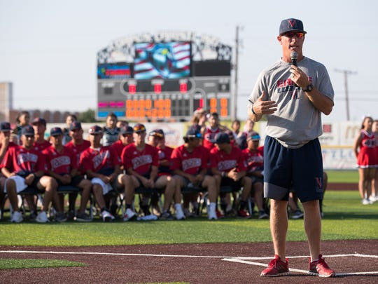 Veterans Memorial baseball coach Lee Yeager speaks at a pep rally before the state tournament at Cabaniss Baseball Field on June, 5, 2018.