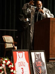 Lee High School Principal and pastor Lorenza Pharrams gives the eulogy during the funeral services of Lee High School basketball player Rod Scott at the Acadome on the ASU campus in Montgomery, Ala. on Saturday March 12, 2016.