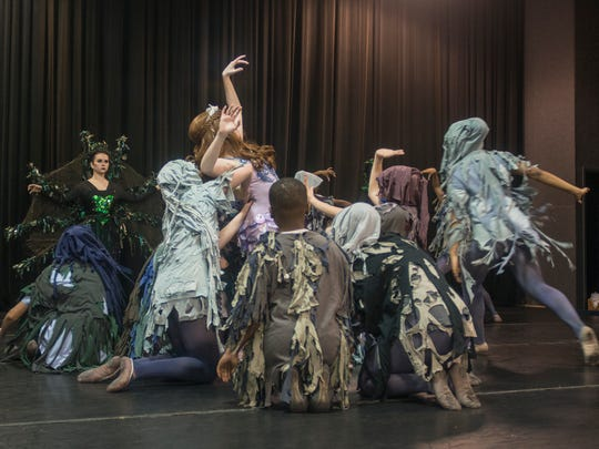 """Karen Licari, center, as The Little Mermaid is surrounded as the Sea Witch watches. The Alabama Dance Theatre rehearses for """"The Little Mermaid and More!"""" on Saturday, Feb. 24, 2018. Performances are set for March 3 & 4 at Troy University's Davis Theatre in Montgomery."""