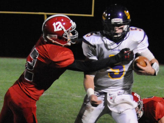 Annville Cleona's Cameron Chappel attempts to tackle