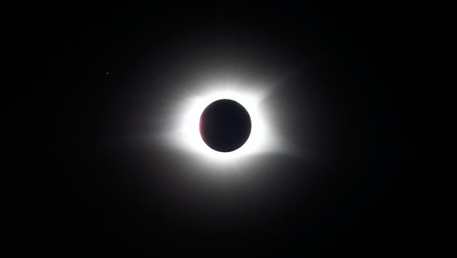 The total eclipse from Main Street in Hopkinsville, Kentucky.  Aug. 21, 2017