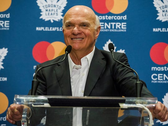 FILE - In this Thursday, Sept. 14, 2017, file photo, Toronto Maple Leafs general manager Lou Lamoriello speaks to reporters during a news conference on the first day of NHL hockey training camp, in Toronto.  Longtime NHL executiveLamoriello has joined the New York Islanders and will have full authority in all hockey matters. The team on Tuesday, May 22, 2018, announced the hiring of the 75-year-old Lamoriello as president of hockey operations.  (Christopher Katsarov/The Canadian Press via AP, File)