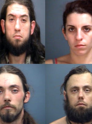 Three suspects were arrested in a Waynesboro drug bust Thursday night. One, remains at-large. James Terrell (top left) remains at-large. Ashely Rimel (top right), Trevor Lane (bottom left) and Heath Riggleman (bottom right) are being held at Middle River Regional Jail.