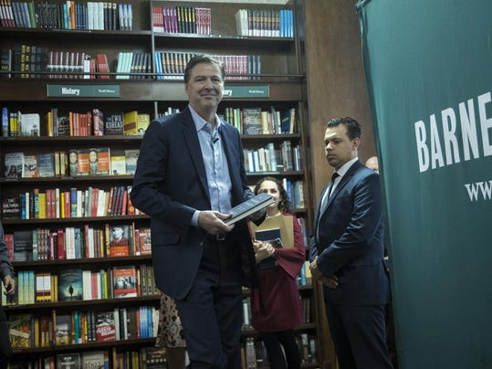 Former FBI Director James Comey Appears At Barnes And Noble In New York Promoting His New Book